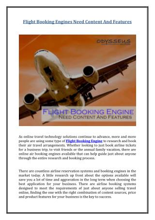 Flight Booking Engines Need Content And Features