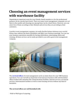 Choosing an event management services with warehouse facility