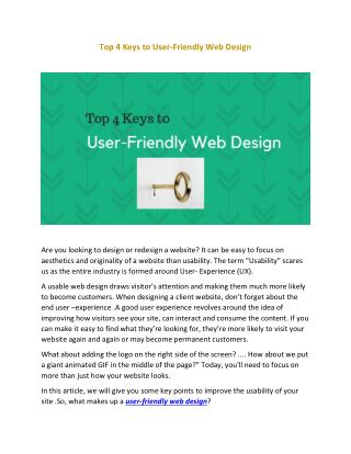 Top 4 Keys to User-Friendly Web Design