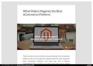 What Makes Magento the Best eCommerce Platform