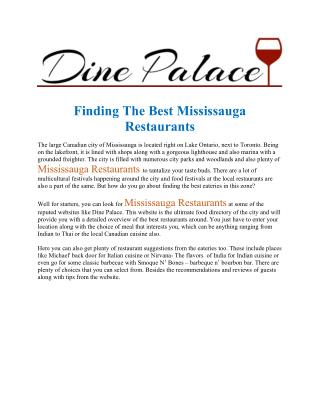 Mississauga Restaurants Dine Palace