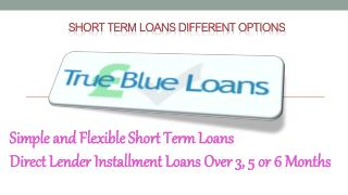 Short Term Loans Different Options