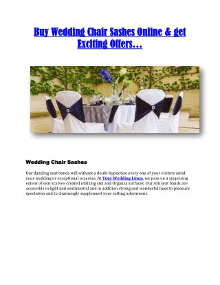 Online Wedding Chair Sashes at affordable cost...