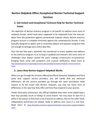 Norton Helpdesk Offers Exceptional Norton Technical Support Services