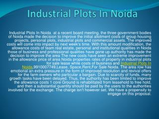 Industrial Plots In Noida 9910007749 for sale/Lease/Rent in