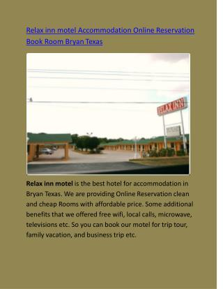 Relax inn motel Accommodation Online Reservation Book Room Bryan Texas