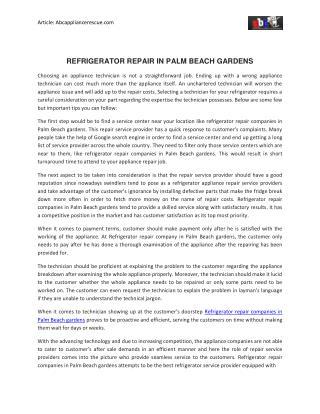 Refrigerator Repair In Palm Beach Gardens