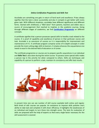 Online Certification Programme and Skills Test