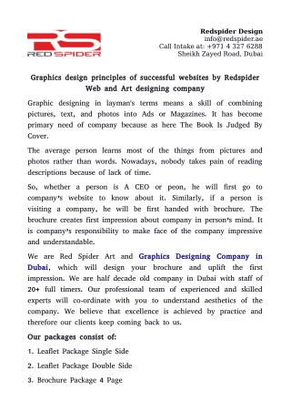 Graphics design principles of successful websites by Redspider Web and Art designing company