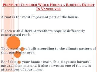 Points to Consider While Hiring a Roofing Expert In Vancouver
