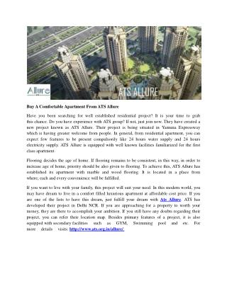 Buy A Comfortable Apartment From ATS Allure