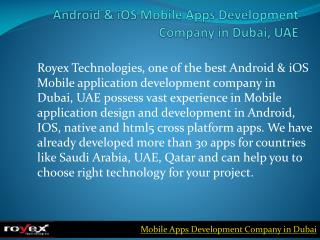 Android & iOS Mobile Apps Development Company in Dubai, UAE