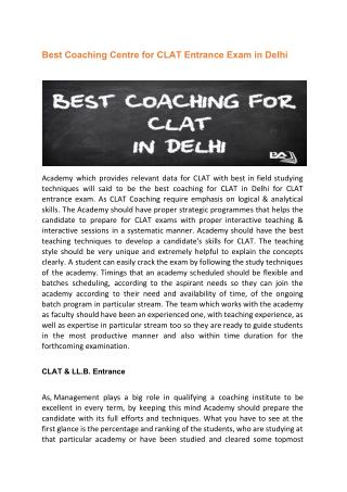 Best Coaching Centre for CLAT Entrance Exam in Delhi