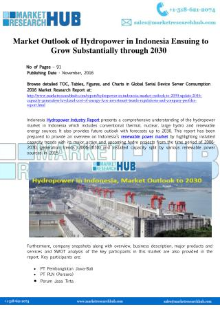 Hydropower in Indonesia, Market Outlook to 2030