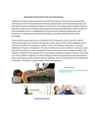 Chiropractic Therapy-Easier Than Cure of the Disease