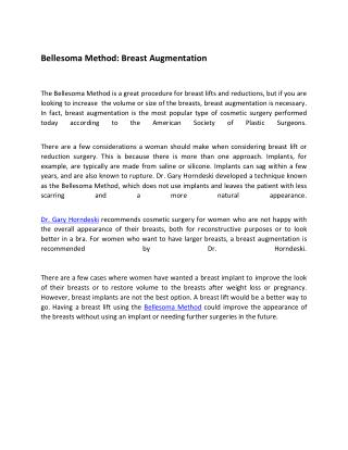 Bellesoma Method: Breast Augmentation