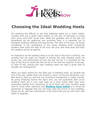 How to choose an ideal wedding heels