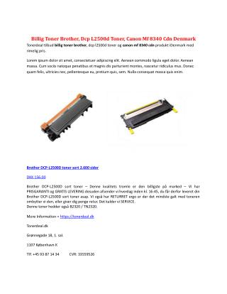 Billig Toner Brother, Dcp L2500d Toner, Canon Mf 8340 Cdn Denmark