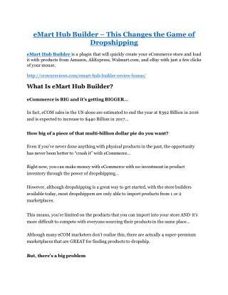 eMart Hub Builder Review and $30000 Bonus - eMart Hub Builder 80% DISCOUNT