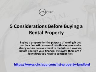 Five Considerations Before Buying a Rental Property