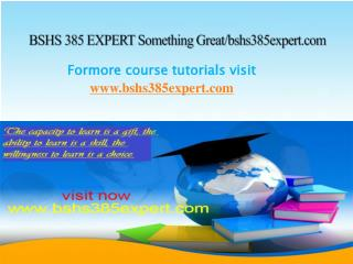 BSHS 385 EXPERT Something Great/bshs385expert.com