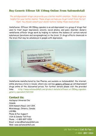 Buy Generic Effexor XR 150mg Online From Safemeds4all