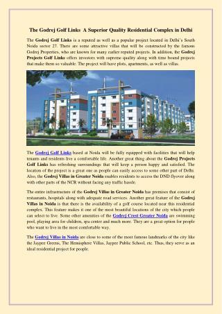 The godrej golf links a superior quality residential complex in delhi