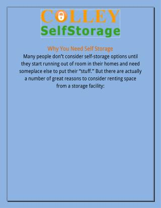 Why Do You Need Self Storage