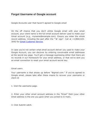 Gmail Customer Service: Forgot Gmail Password