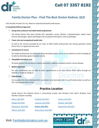 Family Doctor Plus - Find The Best Doctor Kedron, QLD