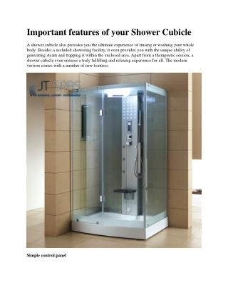 Important features of your Shower Cubicle