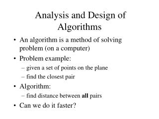 Analysis and Design of Algorithms