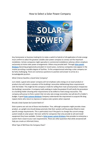 How to select a solar power company