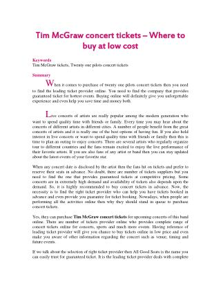 Tim McGraw concert tickets – Where to buy at low cost