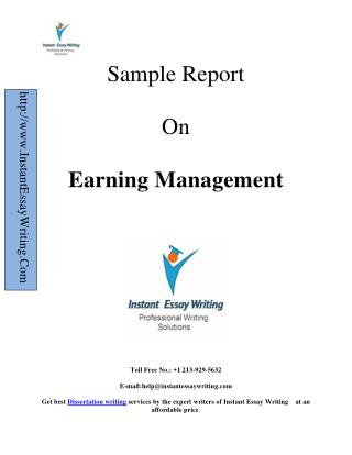 Sample Report On Earning Management written by expert writers