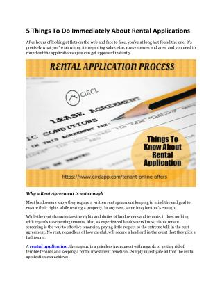 5 Things To Do Immediately About Rental Applications