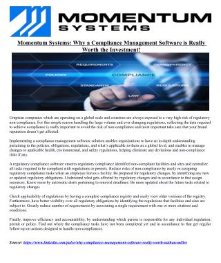 Momentum Systems: Why a Compliance Management Software is Really Worth the Investment!