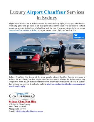 Luxury Airport Chauffeur Services in Sydney