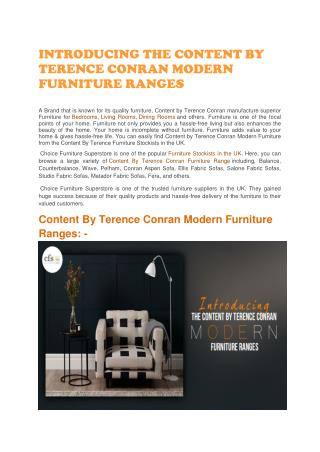 INTRODUCING THE CONTENT BY TERENCE CONRAN MODERN FURNITURE RANGES