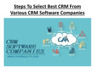 Steps To Select Best CRM From VariousCrm software companies