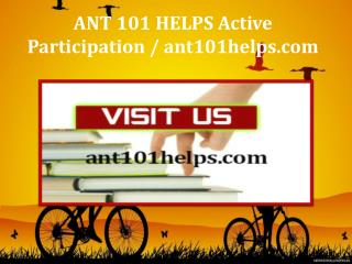 ANT 101 HELPS Active Participation / ant101helps.com