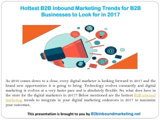 Hottest B2B Inbound Marketing Trends for B2B Businesses to Look for in 2017