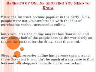 Online Shopping Benefits You Need to Know
