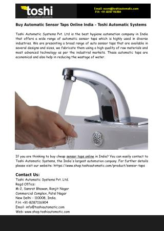 Buy Automatic Sensor Taps Online From Toshi