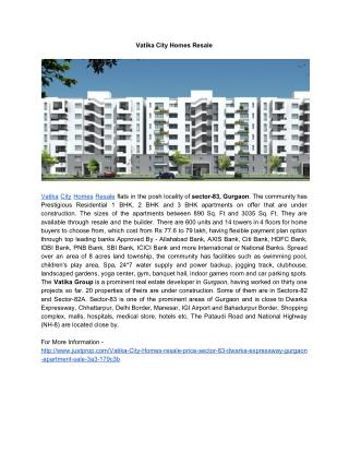 Vatika City Homes Resale