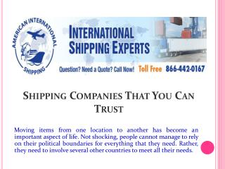 Shipping Companies That You Can Trust