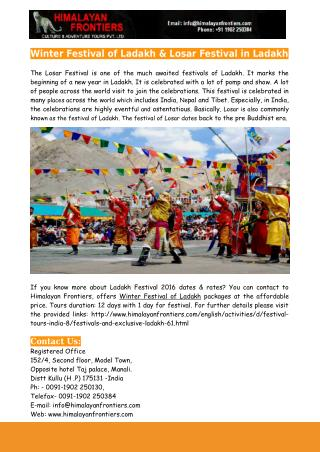 Winter Festival of Ladakh & Losar Festival in Ladakh