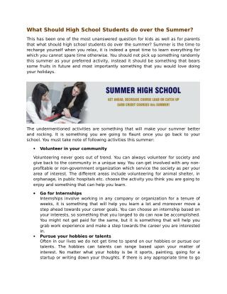 What Should High School Students do over the Summer?