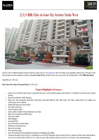 2/3/4 BHK Flats in Gaur City Greater Noida West