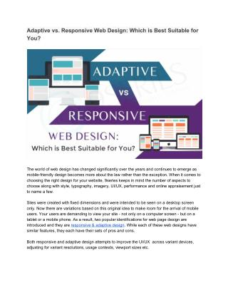 Adaptive vs. Responsive Web Design: Which is Best Suitable for You?